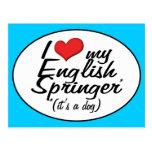 Amo a mi saltador inglés (es un perro) postal