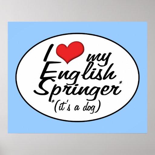 Amo a mi saltador inglés (es un perro) posters
