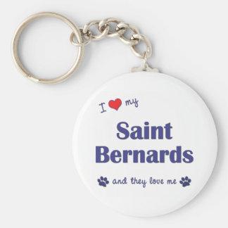 Amo a mi santo Bernards (los perros múltiples) Llavero Redondo Tipo Pin