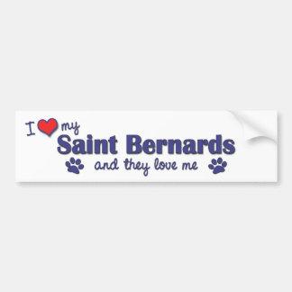 Amo a mi santo Bernards (los perros múltiples) Pegatina Para Auto