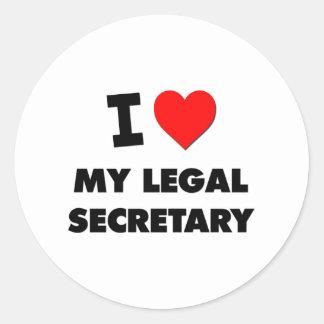 Amo a mi secretaria legal etiqueta redonda