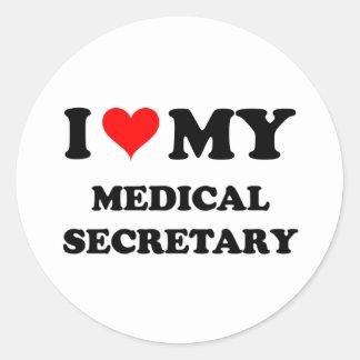 Amo a mi secretaria médica pegatinas redondas