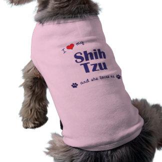 Amo a mi Shih Tzu el perro femenino Camisas De Mascota