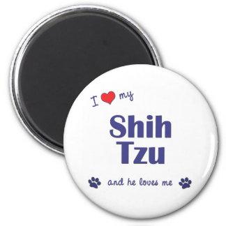 Amo a mi Shih Tzu (el perro masculino) Imán Redondo 5 Cm