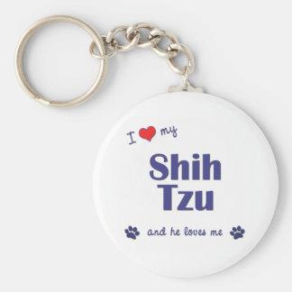 Amo a mi Shih Tzu (el perro masculino) Llavero Redondo Tipo Pin