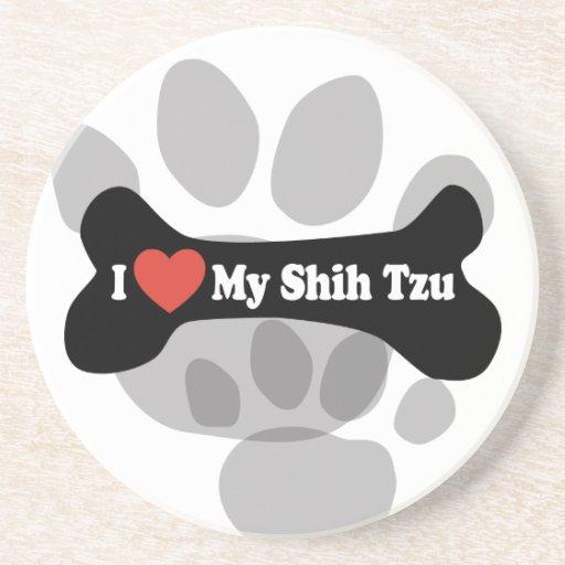 Amo a mi Shih Tzu - hueso de perro Posavasos De Arenisca