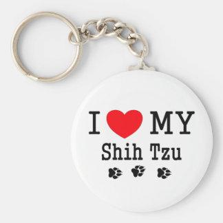 ¡Amo a mi Shih Tzu! Llavero Redondo Tipo Pin