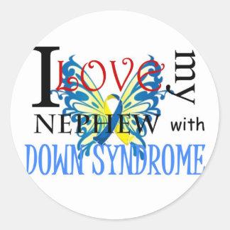 Amo a mi sobrino con Síndrome de Down Pegatina Redonda