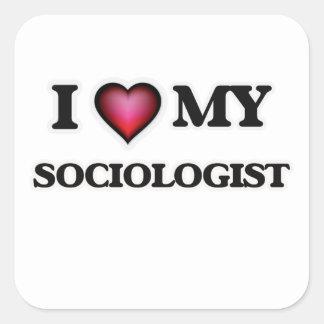 Amo a mi sociólogo pegatina cuadrada