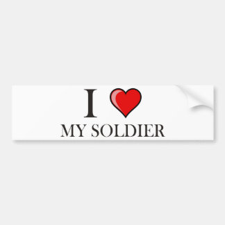Amo a mi soldado pegatina de parachoque