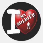 Amo a mi soldado etiquetas redondas