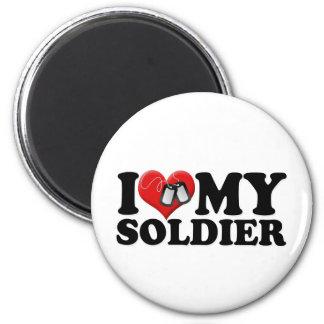 Amo a mi soldado imán redondo 5 cm