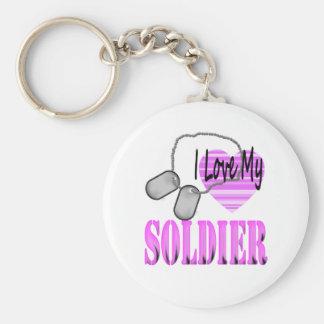 Amo a mi soldado llavero redondo tipo pin