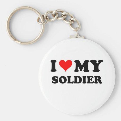 Amo a mi soldado llaveros personalizados
