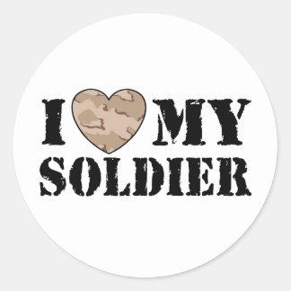 Amo a mi soldado pegatina redonda