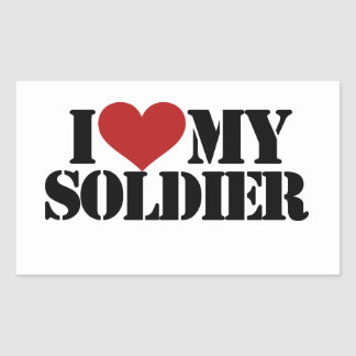 Amo a mi soldado rectangular pegatinas
