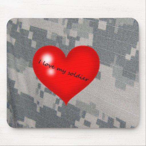 Amo a mi soldado tapete de raton