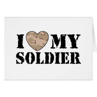 Amo a mi soldado tarjeta de felicitación