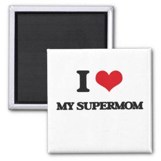 Amo a mi Supermom Imán Cuadrado