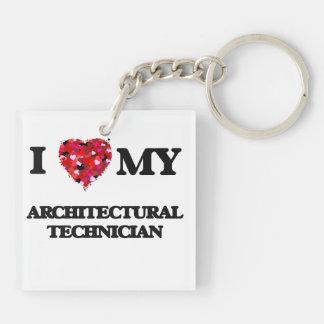 Amo a mi técnico arquitectónico llavero cuadrado acrílico a doble cara