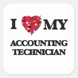 Amo a mi técnico de la contabilidad pegatina cuadrada