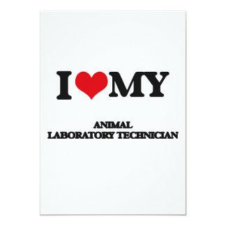 Amo a mi técnico de laboratorio animal invitación 12,7 x 17,8 cm