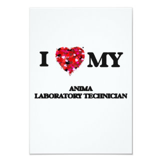 Amo a mi técnico de laboratorio animal invitación 8,9 x 12,7 cm