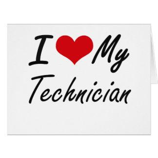 Amo a mi técnico tarjeta de felicitación grande