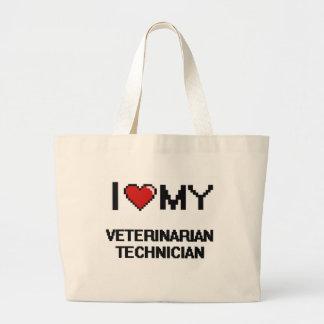 Amo a mi técnico veterinario bolsa tela grande