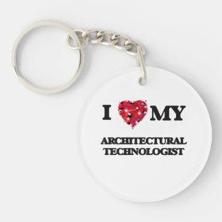Amo a mi tecnólogo arquitectónico llavero redondo acrílico a una cara