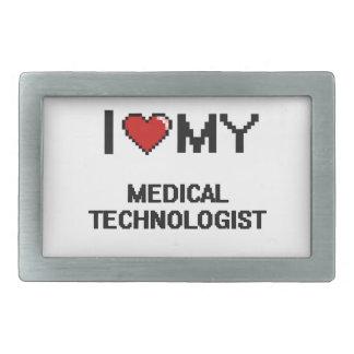 Amo a mi tecnólogo médico hebillas cinturon rectangulares