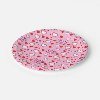 Amo a mi terapeuta físico - corazones plato de papel 17,78 cm