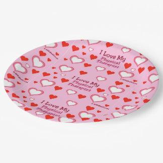 Amo a mi terapeuta físico - corazones plato de papel 22,86 cm