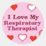 Amo a mi terapeuta respiratorio pegatina redonda