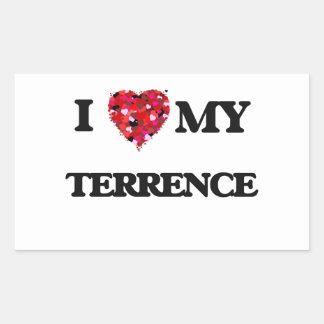 Amo a mi Terrence Pegatina Rectangular