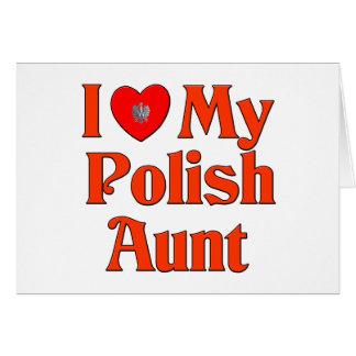 Amo a mi tía polaca tarjeta de felicitación