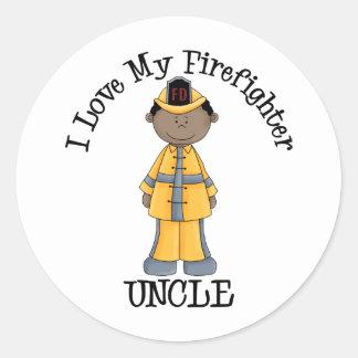 Amo a mi tío afroamericano del bombero pegatina redonda