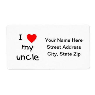 Amo a mi tío etiquetas de envío