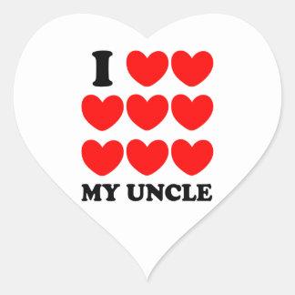 Amo a mi tío pegatina en forma de corazón