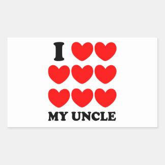 Amo a mi tío pegatina rectangular