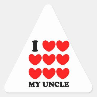 Amo a mi tío pegatina triangular