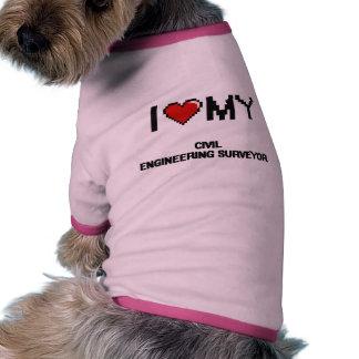 Amo a mi topógrafo del genio civil camisetas de perro
