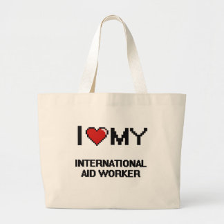 Amo a mi trabajador de ayuda internacional bolsa tela grande
