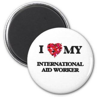 Amo a mi trabajador de ayuda internacional imán redondo 5 cm