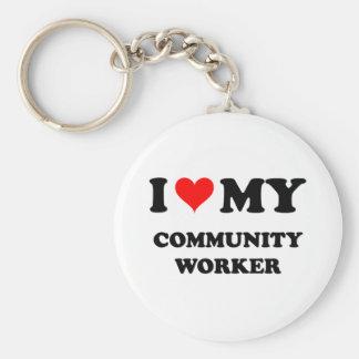 Amo a mi trabajador de la comunidad llavero personalizado