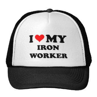 Amo a mi trabajador del hierro gorros