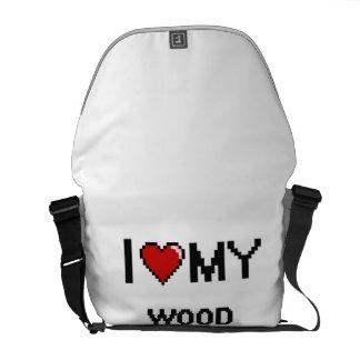 Amo a mi Turner de madera Bolsas Messenger
