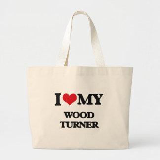 Amo a mi Turner de madera Bolsas