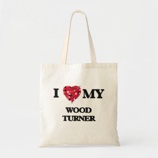 Amo a mi Turner de madera Bolsa Tela Barata