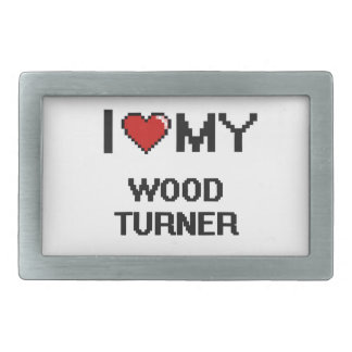 Amo a mi Turner de madera Hebilla Cinturon Rectangular
